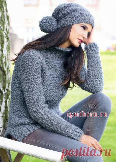Серые будни или нет? Темно-серый пуловер и шапочка с помпоном. Вязание спицами