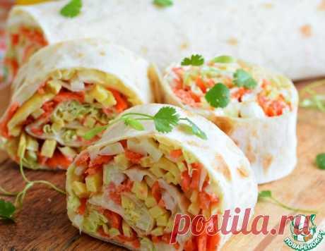 Закусочный рулет из лаваша с овощами – кулинарный рецепт