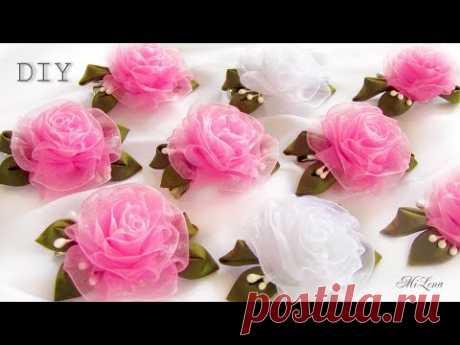 SIMPLE ROSETTES FROM ORGANZA, MK \/ DIY BEAUTIFUL ORGANZA ROSES (simple way)
