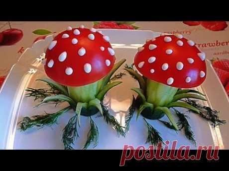 5 Лайфхаков Как красиво нарезать огурцы и помидоры Как красиво оформить стол