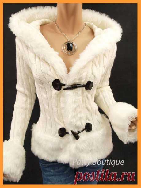 Стильная вязанная куртка с капюшоном