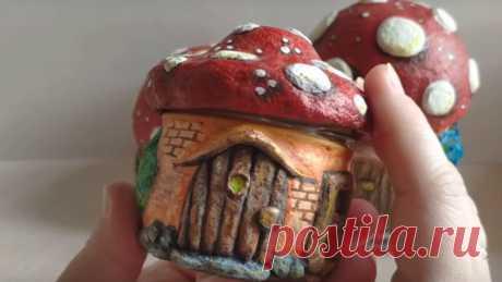 Домики-грибочки из массы папье-маше. Сравнение разных масс, лепка и роспись | Журнал Ярмарки Мастеров