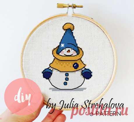 """Схема для вышивки крестом Новогодняя """"Снеговик"""" авторская e-pattern"""