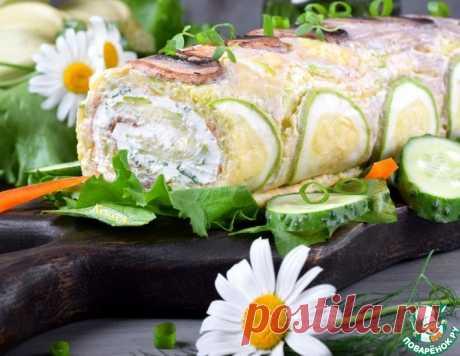 Закусочный рулет из кабачков и шампиньонов – кулинарный рецепт