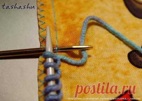 How to gather loops on fabric at the combined knitting