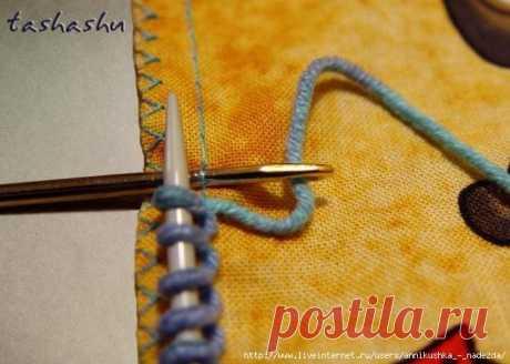 Как набирать петли на ткани при комбинированной вязке