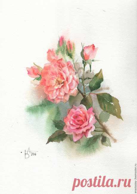 Купить Маленькие розочки - бледно-сиреневый, триптих, нежность, цветы, акварель, акварель, акварельная бумага