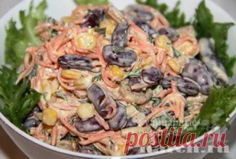 Салат с фасолью, корейской морковью и сухариками «Антошка»   Фоторецепт с подробным описанием от Харч.ру