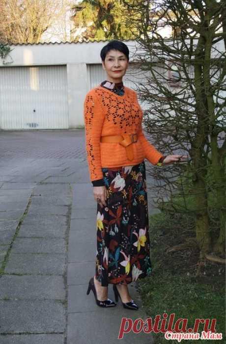 . Оранжевый пуловер. Крючок. Irina Horn - Вязание - Страна Мам