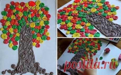"""ПОДЕЛКИ НА ТЕМУ ОСЕНЬ.    Аппликация """"Осеннее дерево"""" выполнена из пластилина путем раскатывания и закручивания тонких жгутиков пластилина разного цвета и размера."""