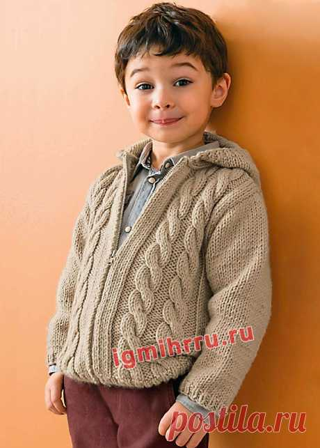Для мальчика 2-10 лет. Бежевый жакет с «косами». Вязание спицами для мальчиков со схемами и описанием