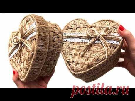 Шкатулка плетеная из джута своими руками