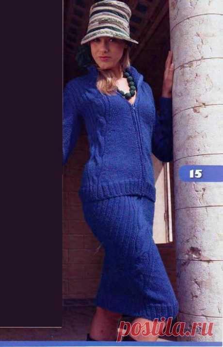 Вязание спицами для женщин Кардиган и юбка