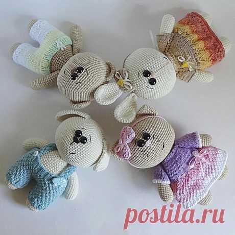Милые вязаные мишка, кошечка, зайка и собачка. Автор: Юлия Мусатова.