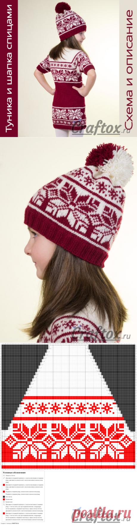 Туника (платье) и шапка с жаккардовым узором спицами. Схема, описание и фото