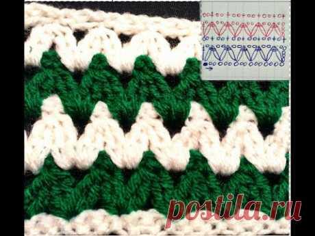 """Обучение крючком.Узор """"Зиг-заг №2 плотный. Education crochet.Tracery """"Zigzag №2 tight."""