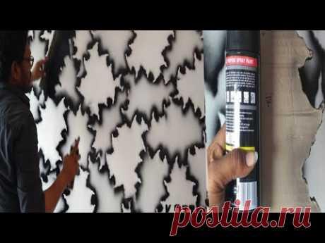 Wall painting hacks black spray creative design interior