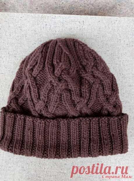 Мужская шапка спицами - Вязание - Страна Мам