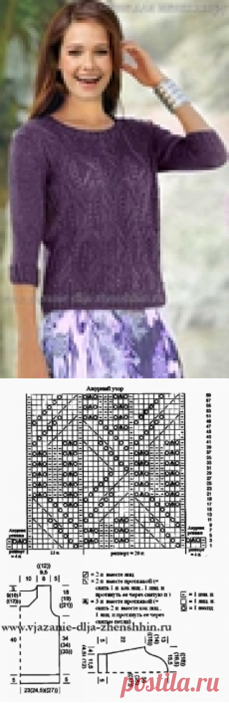 Pullover spokes, an openwork pattern from rhombuses.