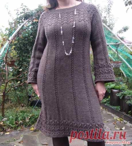 . Простое теплое платье цвета кофе с молоком. Реглан сверху спицами - Вязание - Страна Мам