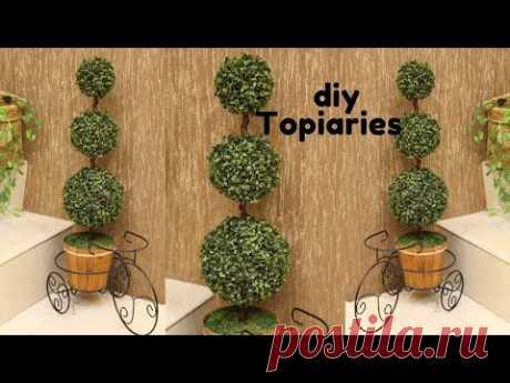 DIY ARTIFICIAL TOPIARY GRASS | CARA MEMBUAT BUNGA HIASAN SUDUT RUANGAN | diy grass ball
