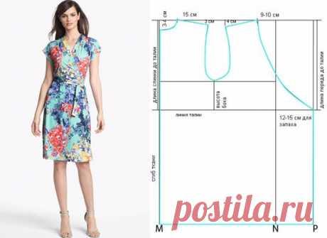 Выкройка-шаблон платья с запахом на все размеры