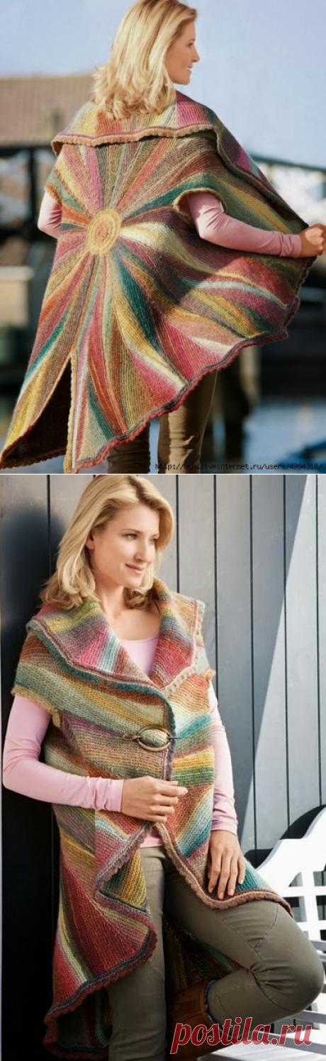Вязание на спицах: Стильная накидка