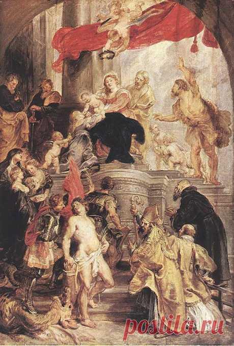 Мистическое обручение святой Екатерины (эскиз), 1628. Питер Пауль Рубенс. Описание картины, скачать репродукцию.