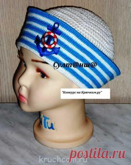 Вязаная панамка в морском стиле (Наталья Султаншина)