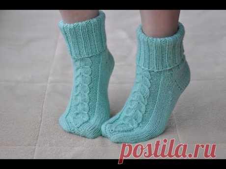 Уютные домашние носки спицами.МК#вязание