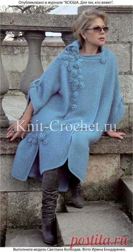 Пальто спицами с украшением крючком. - Пальто для женщин спицами - Вязание спицами - Каталог статей - Вязание спицами и крючком