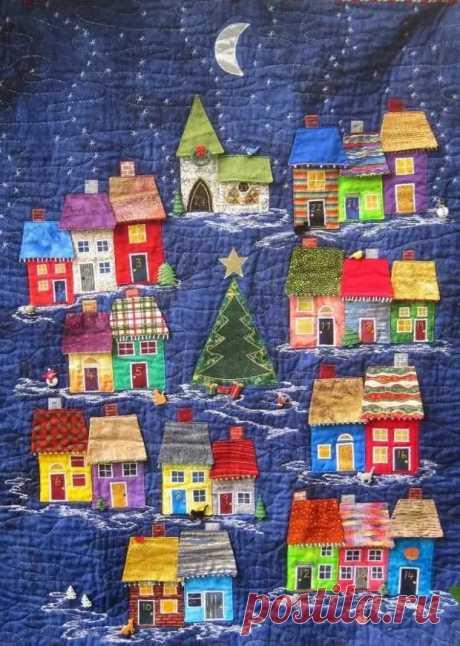 Лоскутные аппликации: яркие и уютные домики из ткани