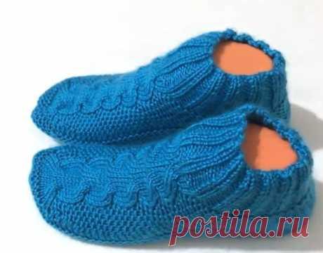 Вяжем тапочки носочки спицами | Tvorlen | Яндекс Дзен