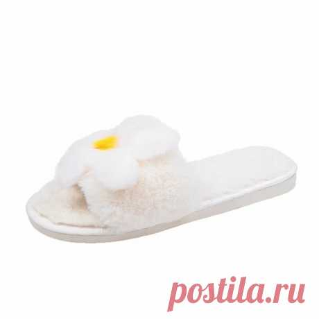 Women Flower Decor Non Slip Soft Comfy Plush Cotton Slippers - US$18.88