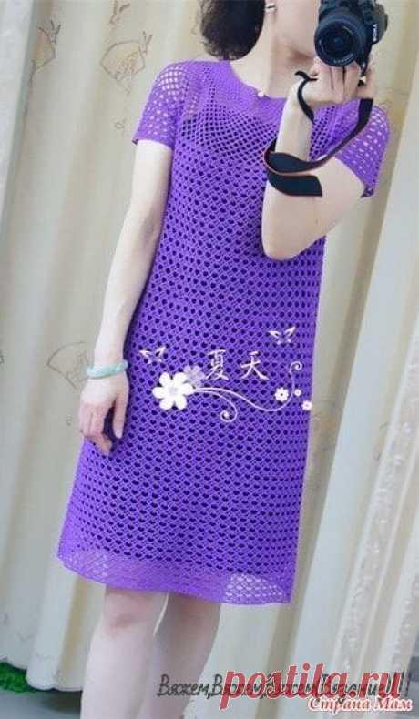 Ажурное платье с круглой кокеткой. Крючок.