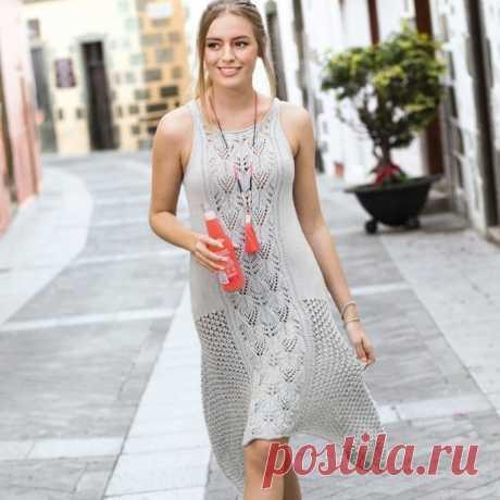 Вязаное платье с ассиметричным низом спицами - Портал рукоделия и моды