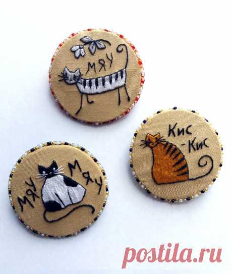 Брошки-кошки или анималистическая гладь в брошках | ВЕРА БУРОВА | Яндекс Дзен