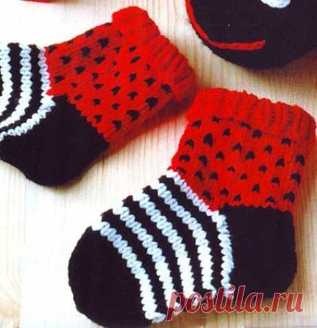 """Носочки """"Божьи коровки"""" » Вязание, вязание спицами, вязание крючком, Схемы вязания, вышивание, макраме, бисероплетение - все это на нашем сайте"""