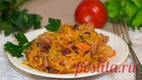 Капуста тушеная с мясом и грибами — Sloosh – кулинарные рецепты