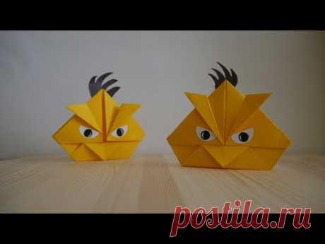 Оригами. Как сделать птицу из игры Angry Birds (видео урок) - YouTube
