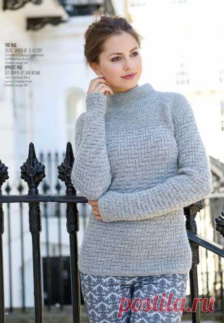 Модный свитер женский ZigZag, вязанный спицами текстурным узором