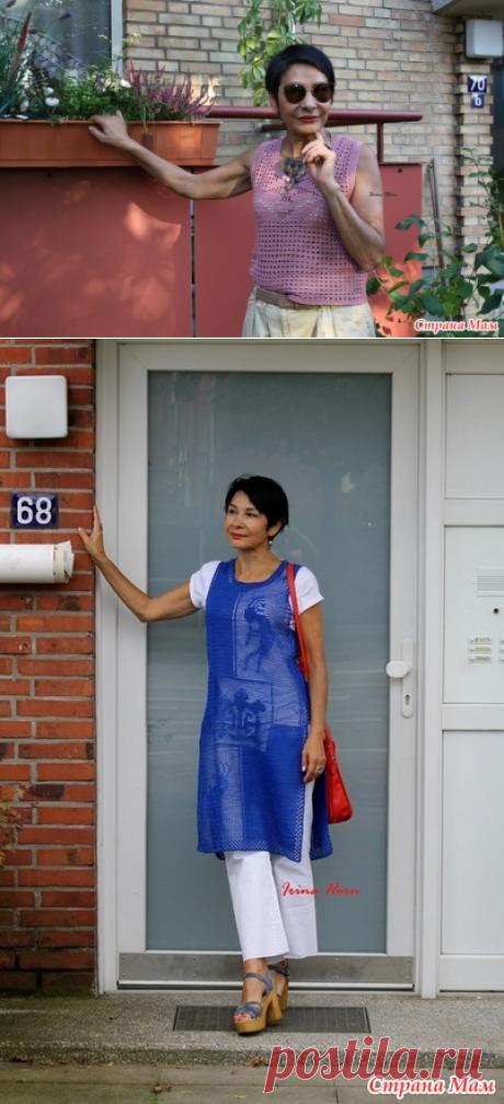 Простая летняя майка с филейным рисунком. Irina Horn - Все в ажуре... (вязание крючком) - Страна Мам