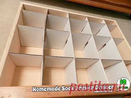Homemade Sock Drawer Divider   How many of you are tired of your junkie (unorganized) sock drawer? I was folding clothes and was about to put away the socks and I realized that I was tota
