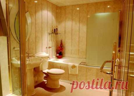 Отделка ванной комнаты пластиковыми панелями - фото дизайна