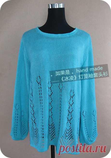 Пуловер красивым узором спицами. Лучший сайт по вязанию |