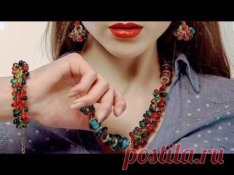 "💎 Колье ""Самоцветы"" в технике Кумихимо. Мастер-класс /Tutorial: Necklace ""Gems"". Kumihimo"