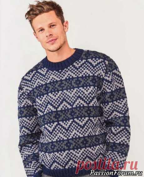 Мужской пуловер с жаккардовым узором. Схема и описание