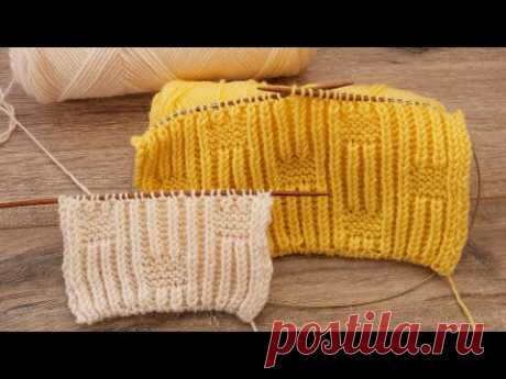 Двухсторонний узор для шарфа из петель бриошь 🌻 Pattern for a scarf from brioche loops