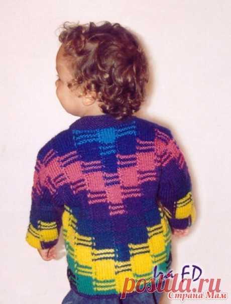 Детский жакет пэчворк, связанный полосами - Вязание - Страна Мам