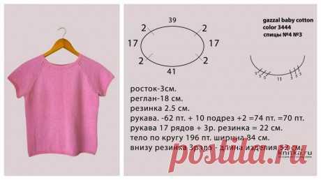 Базовая розовая футболка/топ спицами, видео-урок, Вязание для женщин
